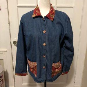 Vintage Floral and Blue Denim Button Down